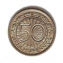Alemania Weimar-(1919/33) 50 Reichspfennig. 1938. G-(Kalsrue). NI. 3,5gr. Ø20mm. SC/SC-. (Tono original). MUY ESCASO/A. En esta