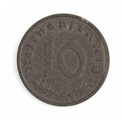 Alemania.-Ocup.Aliada-(1945/48) 10 Reichspfennig. 1947. F-(Stuttgart). ZN. 3,5gr. Ø21mm. SC-/SC. (Lev.oxid.). KM. A104