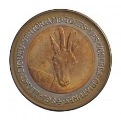Andorra 2  Diner. 1984. CUNI. 12,8gr. (Protec.Naturaleza-Cabra Hispanica-(Bimetalica)). Ø31mm. SC. KM. 21 - ABAD. 25