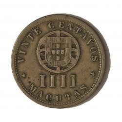 Angola 4 Macuta. 1928. CUNI. 4,5gr. (20 Ctvos.). Ø23,5mm. MBC-. KM. 68
