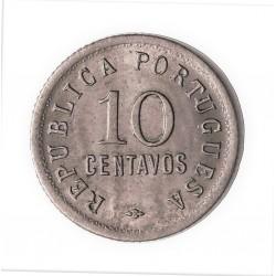 Angola 10 Ctvo. 1923. CUNI. 3gr. Ø19mm. SC-/SC. (Tono original). RARO/A. en esta conservacion. KM. 63