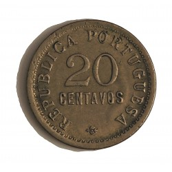 Angola 20 Ctvo. 1922. CUNI. 6gr. Ø23mm. MBC/MBC+. MUY ESCASO/A. KM. 64