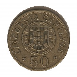 Angola 50 Ctvo. 1928. NI/AE. 10,3gr. Ø30mm. MBC+. (Puntitos de oxid.). ESCASO/A. KM. 69