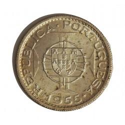 Angola 10 Escudos. 1955. AG. 5gr. Ley:0,720. Ø24mm. SC-/SC. KM. 73