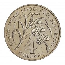 Antigua y Barbuda 4 Dolar. 1970. NI. 28,11gr. (Desarrollo del Caribe). (Lucha contra el hambre-FAO). Ø38mm. SC. MUY RARO/A. Uni