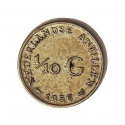 Antillas Holandesas 0,1 Gulden. 1956. AG. 1,4gr. Ley:0,640. Ø15mm. EBC-/EBC. KM. 3