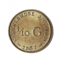 Antillas Holandesas 0,1 Gulden. 1957. AG. 1,4gr. Ley:0,640. Ø15mm. EBC+. KM. 3