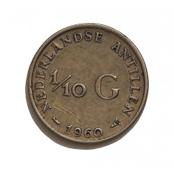 Antillas Holandesas 0,1 Gulden. 1960. AG. 1,4gr. Ley:0,640. Ø15mm. EBC-/EBC. (Lev.rayitas). KM. 3