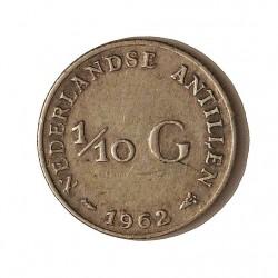 Antillas Holandesas 0,1 Gulden. 1962. AG. 1,4gr. Ley:0,640. Ø15mm. EBC-/EBC. KM. 3