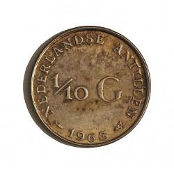 Antillas Holandesas 0,1 Gulden. 1963. AG. 1,4gr. Ley:0,640. Ø15mm. SC-/SC. KM. 3
