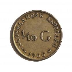 Antillas Holandesas 0,1 Gulden. 1966. (Pez y estrella). AG. 1,4gr. Ley:0,640. Ø15mm. EBC-/EBC. KM. 3
