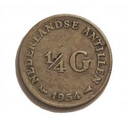 Antillas Holandesas ¼ Gulden. 1954. AG. 3,575gr. Ley:0,640. Ø19mm. MBC-. KM. 4