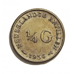 Antillas Holandesas ¼ Gulden. 1956. AG. 3,575gr. Ley:0,640. Ø19mm. EBC-/EBC. KM. 4