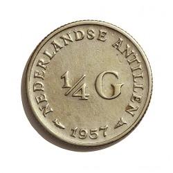 Antillas Holandesas ¼ Gulden. 1957. AG. 3,575gr. Ley:0,640. Ø19mm. EBC-/EBC. KM. 4