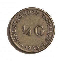 Antillas Holandesas ¼ Gulden. 1960. AG. 3,575gr. Ley:0,640. Ø19mm. MBC+. KM. 4