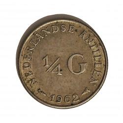 Antillas Holandesas ¼ Gulden. 1962. AG. 3,575gr. Ley:0,640. Ø19mm. EBC-/EBC. KM. 4