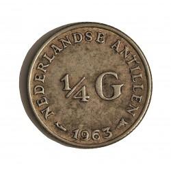 Antillas Holandesas ¼ Gulden. 1963. AG. 3,575gr. Ley:0,640. Ø19mm. EBC-. KM. 4