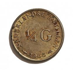 Antillas Holandesas ¼ Gulden. 1965. AG. 3,575gr. Ley:0,640. Ø19mm. EBC-/EBC. KM. 4