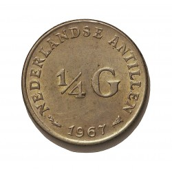 Antillas Holandesas ¼ Gulden. 1967. (Pez y estrella). AG. 3,575gr. Ley:0,640. Ø19mm. EBC. KM. 4