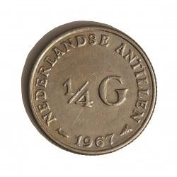 Antillas Holandesas ¼ Gulden. 1967. (Pez ). AG. 3,575gr. Ley:0,640. Ø19mm. MBC. KM. 4