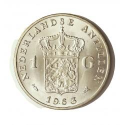 Antillas Holandesas 1 Gulden. 1963. AG. 10gr. Ley:0,720. (Juliana). Ø28mm. SC-/SC. (Tono original). KM. 2