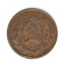 Argentina 1 Decimo. 1822. Buenos Aires. CU. 6,8gr. Ø23,5mm. MBC. (Gpcito.cto.). MUY ESCASO/A. KM. 1