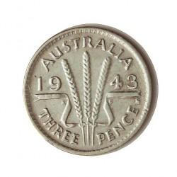 Australia 3  Pence. 1943. S-(St.Francisco). AG. 1,41gr. Ley:0,925. Ø16mm. MBC. KM. 37