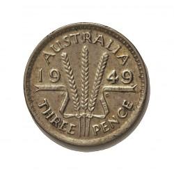 Australia 3  Pence. 1949. AG. 1,41gr. Ley:5,000. Ø16mm. EBC-. KM. 44