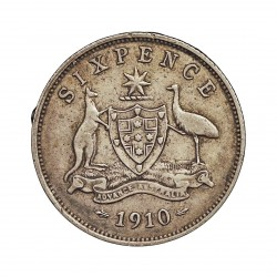 Australia 6  Pence. 1910. AG. 2,83gr. Ley:0,925. Ø19mm. MBC-/MBC. ESCASO/A. KM. 19