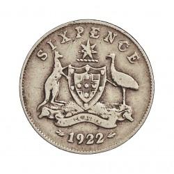 Australia 6  Pence. 1922. AG. 2,82gr. Ley:0,925. Ø19mm. BC+/MBC-. MUY ESCASO/A. KM. 25