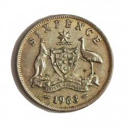 Australia 6  Pence. 1963. AG. 2,83gr. Ley:0,500. Ø19mm. SC-. KM. 58