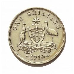 Australia 1  Shilling. 1910. Londres. AG. 5,65gr. Ley:0,925. Ø18mm. MBC/MBC+. KM. 20