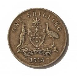 Australia 1  Shilling. 1914. Londres. AG. 5,65gr. Ley:0,925. Ø18mm. MBC/MBC+. KM. 26