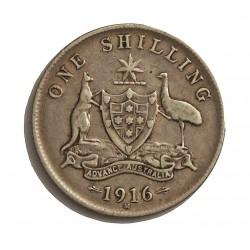 Australia 1  Shilling. 1916. Melbourne. AG. 5,65gr. Ley:0,925. Ø18mm. MBC/MBC+. KM. 26
