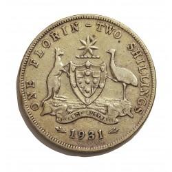 Australia 1  Florin. 1931. AG. 11,31gr. Ley:0,825. (2 schilling). Ø28mm. MBC-/MBC. KM. 27