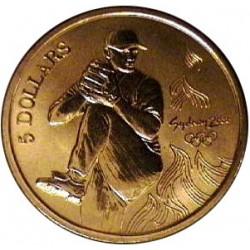 Australia 5  Dolar. 2000. ZN. 20gr. (Olimp.-Beisbol-Lanzador). Ø39mm. SC. KM. 435