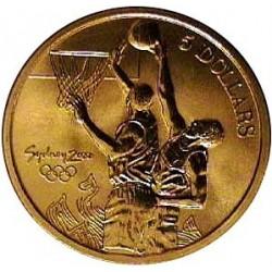 Australia 5  Dolar. 2000. ZN. 20gr. (Olimp.-Baloncesto). Ø39mm. SC. KM. 375