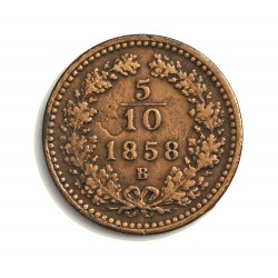 Austria-(y Estados) 5 Decimo. 1858. B-(Kremnitz). CU. 1,67gr. (5/10 de Kreuzer). Ø17mm. MBC-. (Oxid.). KM. 2182