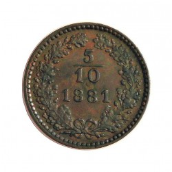Austria-(y Estados) 5 Decimo. 1881. CU. 1,67gr. (5/10 de Kreuzer). Ø17mm. SC-. (Patina). KM. 2183