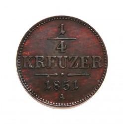 Austria-(y Estados) ¼ Kreuzer. 1851. A-(Viena). CU. 1,35gr. Ø17mm. EBC+. (Patina). KM. 2180