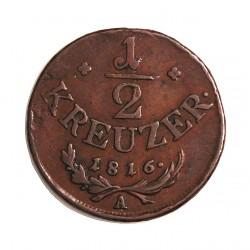Austria-(y Estados) ½ Kreuzer. 1816. A-(Viena). CU. 4,5gr. Ø23mm. MBC-. (Patina). KM. 2110