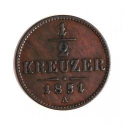 Austria-(y Estados) ½ Kreuzer. 1851. A-(Viena). CU. 2,7gr. Ø20mm. EBC-. (Patina). KM. 2181