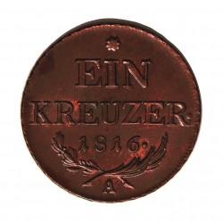 Austria-(y Estados) 1 Kreuzer. 1816. A-(Viena). CU. 8,57gr. Ø26mm. SC-/SC. (Bonita patina). KM. 2113