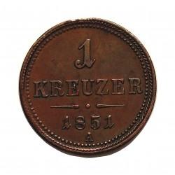 Austria-(y Estados) 1 Kreuzer. 1851. A-(Viena). CU. 5,3gr. Ø22mm. EBC/EBC+. KM. 2185
