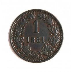 Austria-(y Estados) 1  Kreuzer. 1881. CU. 3,2gr. Ø19mm. EBC-. KM. 2186