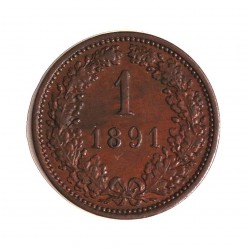 Austria-(y Estados) 1  Kreuzer. 1891. CU. 3,3gr. Ø19mm. EBC-. KM. 2187