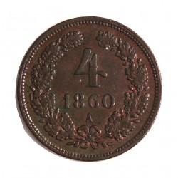 Austria-(y Estados) 4 Kreuzer. 1860. A-(Viena). CU. 13,5gr. Ø27mm. MBC+. (Gpctos.cto.). KM. 2194