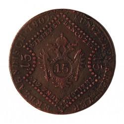 Austria-(y Estados) 15 Kreuzer. 1807. B-(Kremnitz). AE. 14gr. Ley:0,000. Ø35mm. MBC-/MBC. KM. 2138