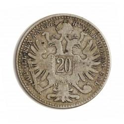 Austria-(y Estados) 20 Kreuzer. 1868. AG. 2,667gr. Ley:0,500. Ø20,5m/m. BC-/BC. KM. 2212