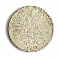 Austria-(y Estados) 2  Corona. 1912. AG. 10gr. Ley:0,835. Ø27mm. MBC+. KM. 2821